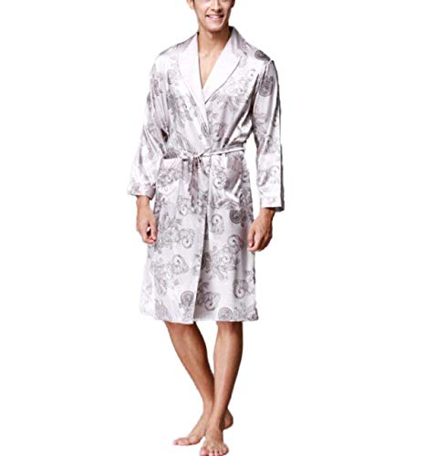 Primavera Hombre De Seda Estilo Chándal Verano Pijamas Chino Camisones Bata Prints Bobolily Especial Grey Baño wqEC15tpnn