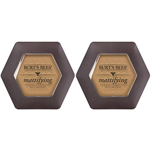 Burt's Bees 100% Natural Origin Mattifying Powder Foundation, Nutmeg - 0.3 Ounce (Pack of 2)