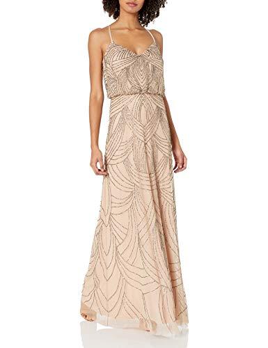 Adrianna Papell Womens Spaghetti Strap Beaded Blouson Gown