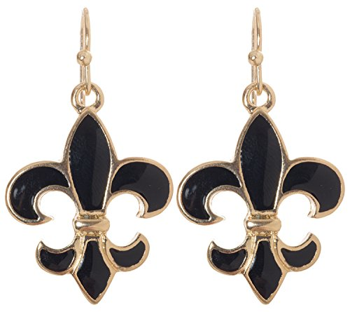 Artisan Owl - Black Fleur De Lis Dangle Earrings (Gold Tone)