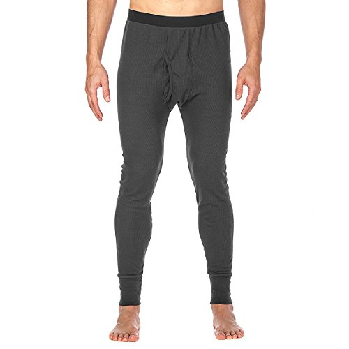 St. Johns Bay Men's Thermal Underwear Pant Light Base Layer Long Johns, Dark Gray, Medium by St. John's Bay