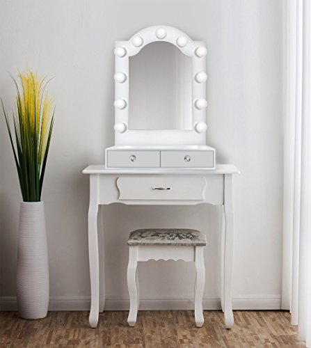 25 inch x 31 inch Lighted Hollywood Arch Vanity Mirror | Makeup Mirror With Storage| Table Top Or Wall Mount | Plug-in by Krugg (Image #2)