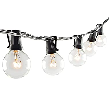 Patio Lights G40 Globe Party String Lights Outdoor Lighting for Garden Party Christmas Wedding New Year Lawn Backyard Bedroom RV Dancing Indoor Decoration with 25 Warm White Bulbs 25ft Black Wire