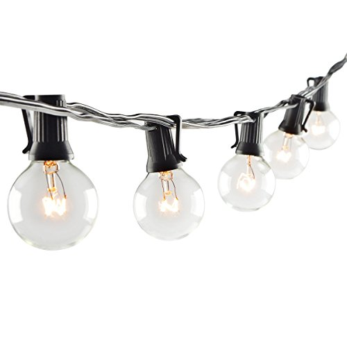 [Globe String Lights with G40 Bulbs - On'h 25 Feet Outdoor String Lights for Patio Garden Party Wedding Lawn Backyard, Black Wire] (Party On The Patio)