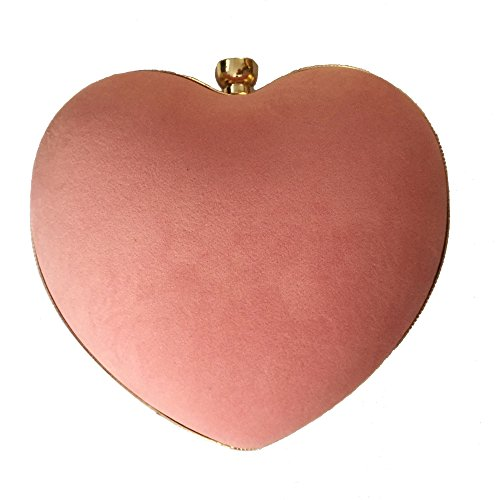 Womens Heart Shape Clutch Bag Messenger Shoulder Handbag Evening Party Prom Bag Purse Pink ()