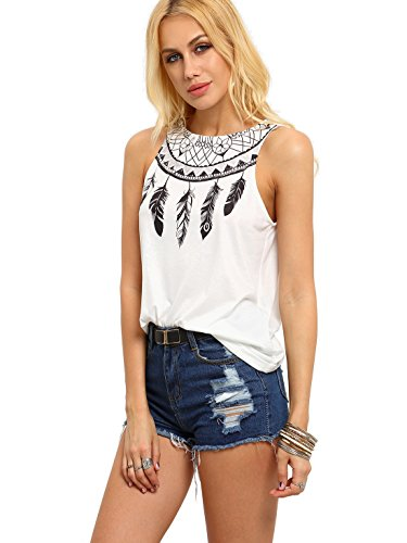 Classic Print Tank Top (ROMWE Women's Vest national style Feather Print cami Tank Top white L)