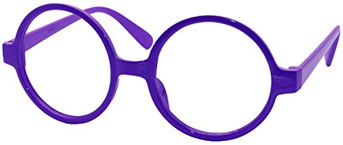 FancyG Retro Geek Nerd Style Round Shape Glass Frame NO LENSES - Dark - Purple Glasses Dark