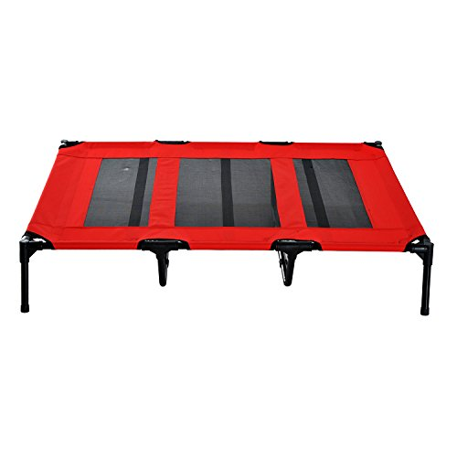 Pawhut-48-Elevated-Cooling-Mesh-Dog-Bed-Cot-Red