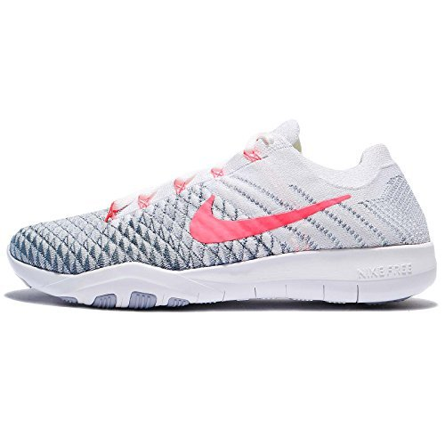Flyknit 2 Nylon Running Shoes-White/Hyper Punch Wolf Grey-8 ()