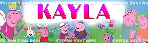 Personalized Nick Jr. Peppa Pig 2 Banner Birthday Poster Custom Name Painting Wall Art Decor (Pig Personalized)