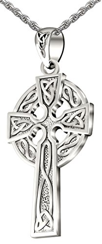 US Jewels And Gems Mens 0.925 Sterling Silver 1.625in Irish Celtic Knot Cross Pendant Polished Finish 3.3mm Rope Necklace, ()