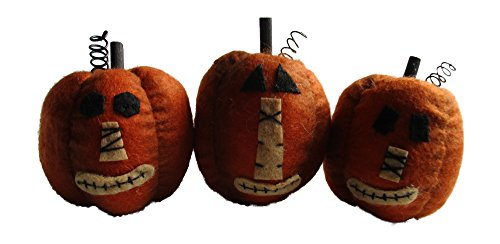 From The Attic Crafts Pumpkin Bowl Fillers for Fall and Halloween Mini Felt Primitive Pumpkins Set of 3 ()