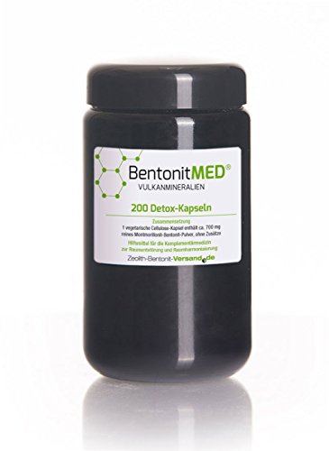 Bentonite Med 200 Detox Capsules in Violet Glass