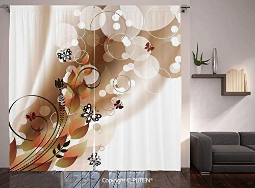(Thermal Insulated Blackout Window Curtain [ Tan,Spring Themed Abstraction Cute Flower Petals and Tulip Leaves,Dark Brown Brown White ] for Living Room Bedroom Dorm Room Classroom Kitchen C)