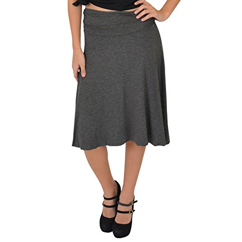 - Stretch is Comfort Women's Ruched Waistband Flowy Skirt Charcoal Gray 3X