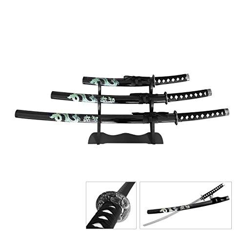 Snake Eye Tactical Fantasy Dragon Design 3 Piece Samurai Katana Set w/Free Sword Stand Black ()