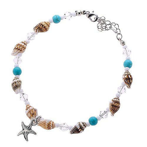 Turquoise Conch Shell (INSANEY Starfish Charm and Turquoise Pearl Bead Link Anklet (B:Conch))