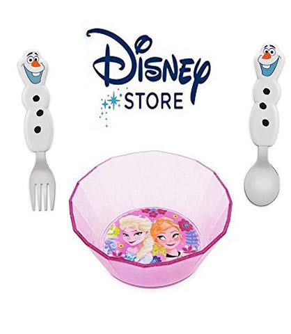 Disney Authentic Frozen Mealtime Magic Bowl and Flatware Bundle (3pc) Featuring Anna, Elsa and Olaf.