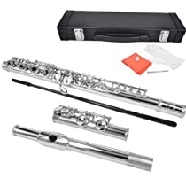 Bentoni 16 Keys Nickel Plated Plateau-Style (Closed Hole) C Flute w/ Case, Screwdriver, Cleaning Rod and Cloth, Gloves
