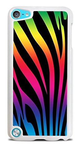 Rainbow Zebra Print White Hardshell Case for iPod Touch 5G