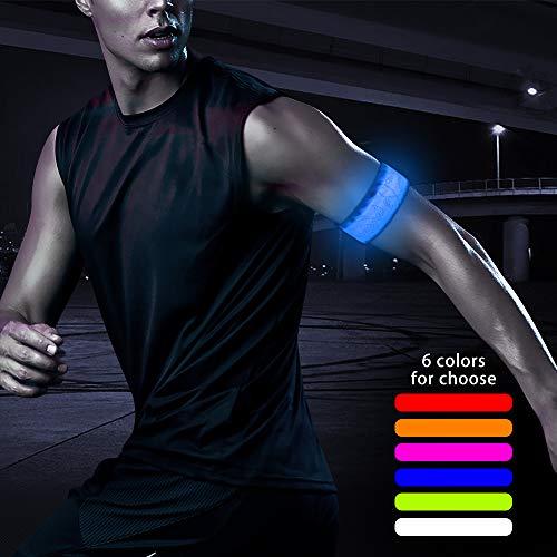 Higo LED Armband, Rainproof Glowing LED Slap Bracelets, Light Up Sports Wristbands with Reflective Printing, for Running, Cycling, Hiking, Jogging, Dog Walking (Blue-Design IV) for $<!--$6.99-->
