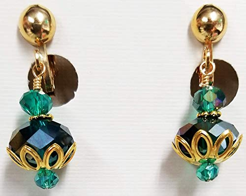 Teal Green Crystal Glass Beads Gold Color Filigree Bead Cap Filigree Bead Cap Earrings (CLIP-ONS)