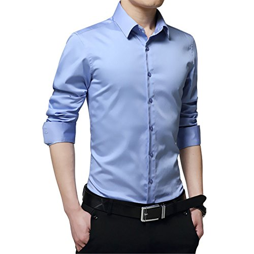 Price comparison product image NeeKer Jacket Men Shirt Turn Down Collar Long Sleeved Solid Casual Business Shirt Man DS060 Light Blue Asian 3XL