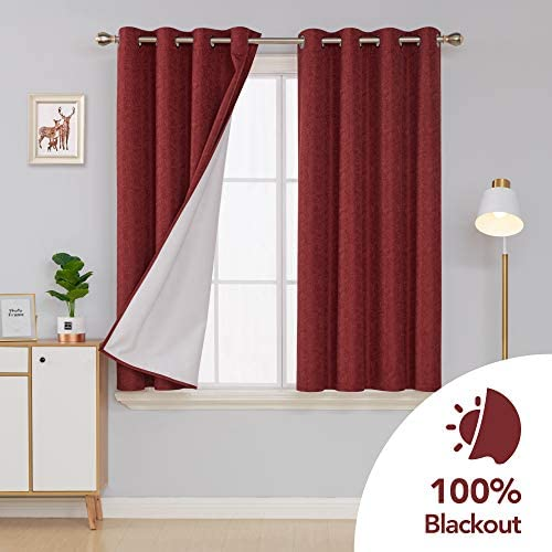 Deconovo Red Curtains Complete Blackout Curtains with 3 Pass Coating Back Layer Thermal Insulated Textured Grommet Window Drapes for Bedroom 52×63 Inch Christmas Burgundy Red 2 Panels