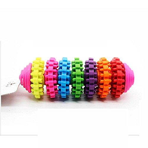 Random Colour Pet Dog Toy, Puppy Rubber Dental Teeth Chew Bone Play Training Fetch Fun Toys (120g)