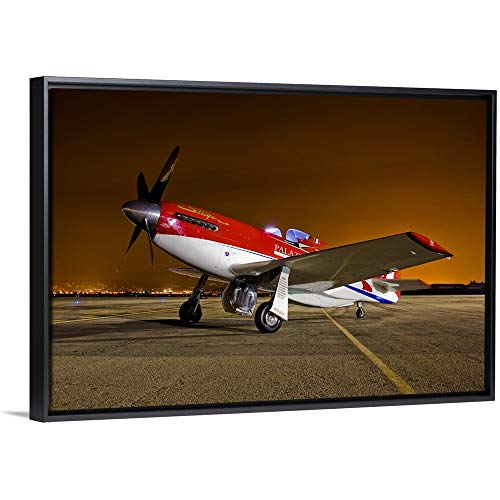 Scott Germain Floating Frame Premium Canvas with Black Frame Wall Art Print Entitled Strega, a Highly Modified P 51D Mustang Racer ()