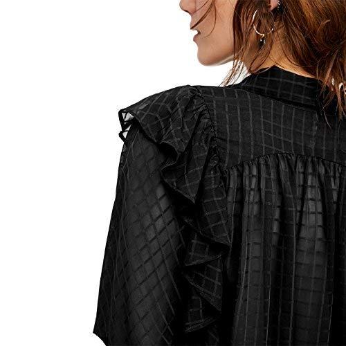 Cou Chic Volants Transparent Confortable Carreaux Schwarz Shirt Chemisiers Tops Chemisier Uni Printemps Femme Manches Party Elgante Mode V Manche Longues wOw8Bz