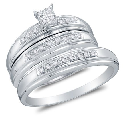Sizes - L = 8.5, M = 10 - 10k White Gold Diamond Cluster Mens And Ladies Couple His & Hers Trio 3 Three Ring Bridal Matching Engagement Wedding Ring Band Set (1/5 cttw.) - Please use drop down menu to select your desired ring sizes by Sonia Jewels