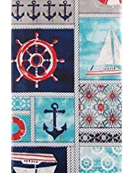 Elrene Marine Nautical Patchwork Vinyl Flannel Back Tablecloth (60