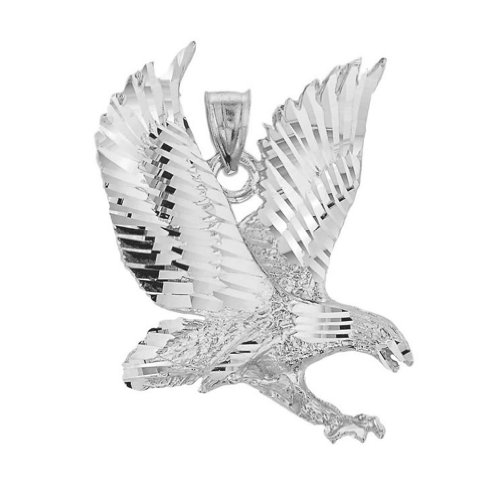 Polished 925 Sterling Silver American Eagle Charm (Eagle Pendant)