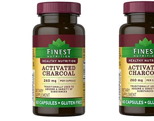 Finest Nutrition Activated Charcoal 260 mg 60 Capsules(Pack of 2) ()