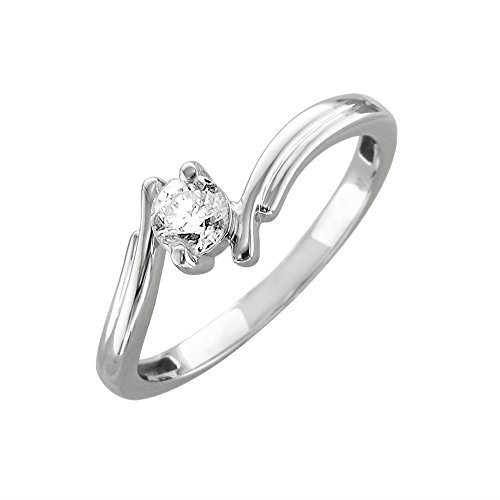 14k White Gold Solitaire Diamond ByPass Engagement Ring Band (1/3 Carat) -