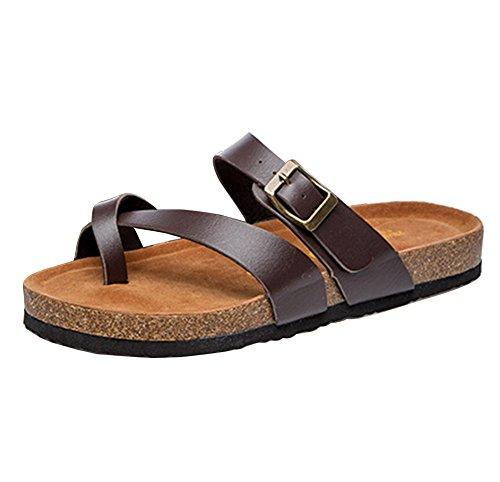 Mujer Planos Unisexo Zapatos de la playa Cómodos Sandalia Zapatos Planos sandalias del dedo del pie del clip marrón