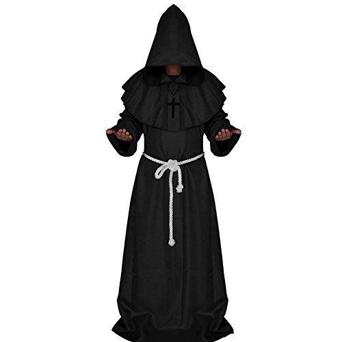 Friar Tuck Kids Costume (Halloween Friar Medieval Hooded Monk Adult Costume Priest Robe Tunic Hoodies Cosplay Capes (Black,Large))