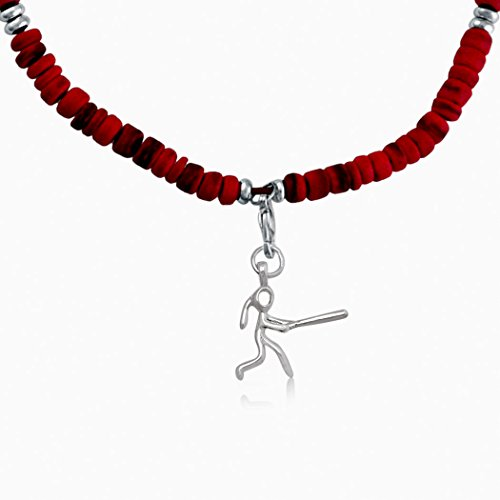 Softball Figure - ChalkTalkSPORTS Natural SportBEAD Adjustable Necklace - Softball Stick Figure Charm