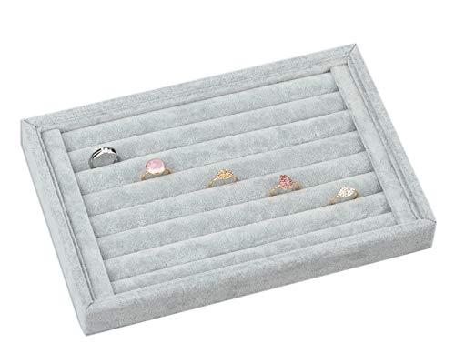 ZJKJ Jewelry Ring Display Tray Velvet Earring Showcase Cufflinks Storage Holder Organizer (Grey) (Waste Pad Tray)