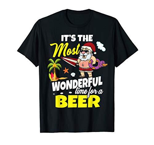 Christmas In July Santa Shirt Hawaiian Funny Wonderful Beer T-Shirt