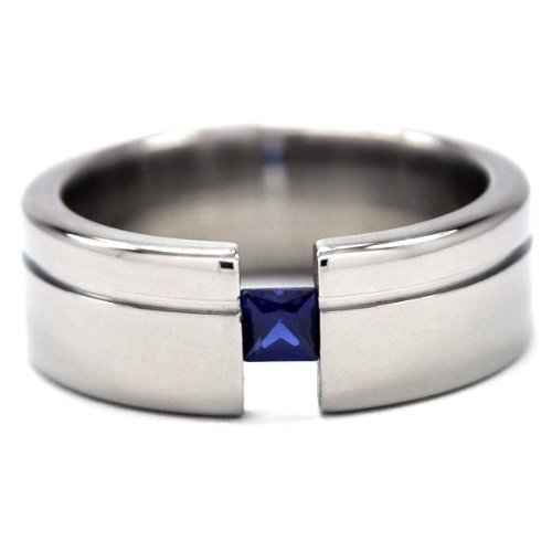 Titanium Tension Setting Ring w/ Princess Cut Gemstone, Wedding Rings