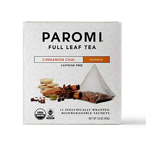 Paromi Tea Organic Cinnamon Chai Caffeine-Free Rooibos Tea, 15 Pyramid Tea Bags (Pack of 6) Non-GMO from Paromi