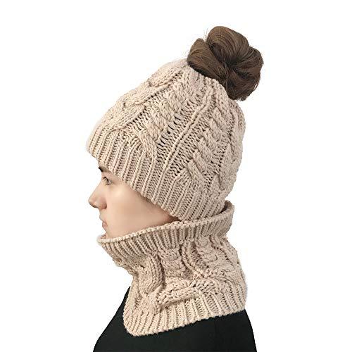 NEEKEY Women Autumn Winter Outdoor Warm Hats and Bib Set Crochet Knit Holey Beanie Cap(Free Size,Beige)