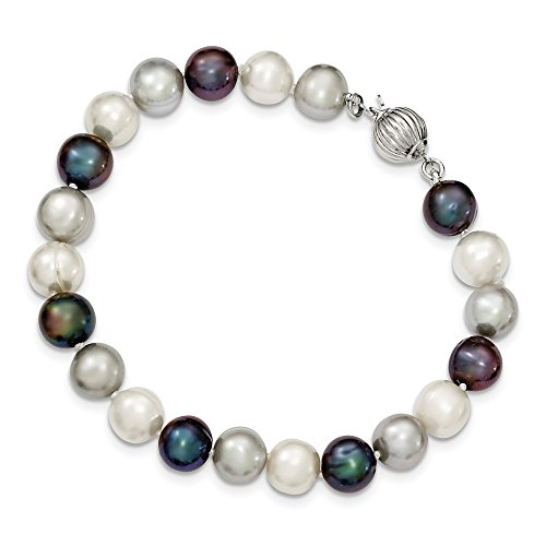 925 Sterling Silver 9mm Freshwater Cultured White/platinum/black Pearl Bracelet 7.5 Inch Fine Jewelry Gifts For Women For Her