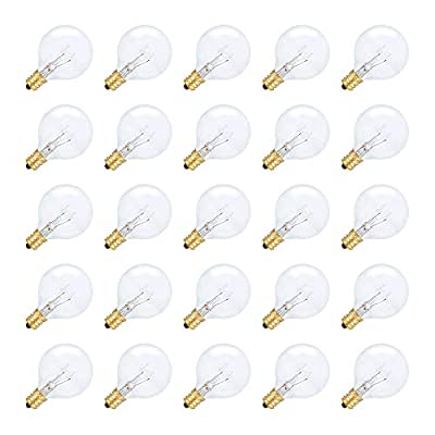 String Light Outdoor Globe G40 Replacement Bulb 5W E12 Candelabra Base C7 Socket by Simba Lighting for Patio, Café, Pergola, Porch, Clear Glass, 5 Watt 110V 120V, 2700K Warm White, Dimmable, 25 Pack