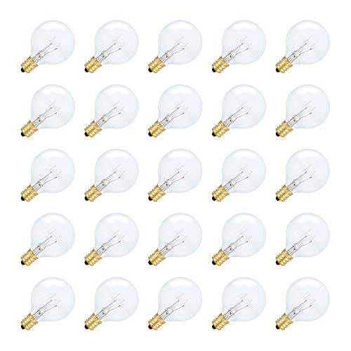 Simba Lighting String Light Outdoor Globe G40 Replacement Bulb 5W E12 Candelabra Base C7 Socket for Patio, Caf