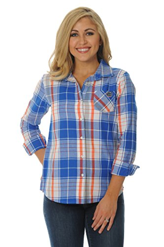 Ncaa Florida University - UG Apparel NCAA Florida Gators Women's Boyfriend Plaid Shirt, Medium, Royal Blue/Orange/White