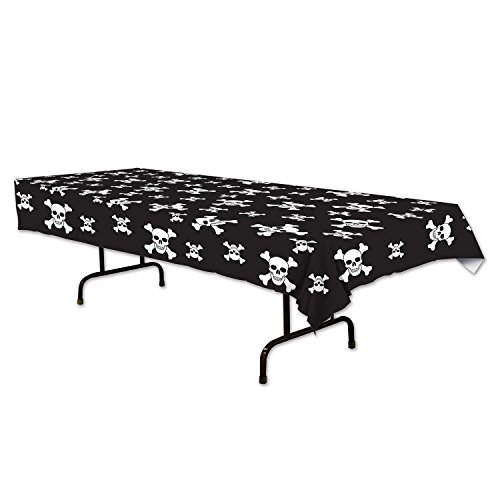 Beistle Pirate Tablecover, 54 by 108-Inch, Black/White ()