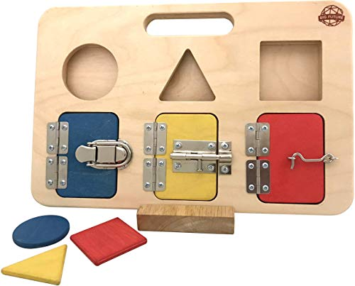 Big Future Toys Latch Board | Simple, Modern Design | Montessori-Friendly Toy for Toddlers, Shape Sorter, Activity Board, Busy Board, Educational Toy, Learning Toy ()